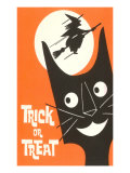 Trick or Treat  Cartoon Cat  Witch by Moon
