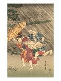 Japanese Woodblock  Rain Storm
