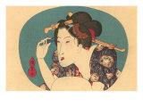 Japanese Woodblock  Lady Plucking Eyebrows
