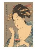 Japanese Woodblock  Lady Applying Lip Gloss