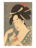 Japanese Woodblock  Lady with Fish
