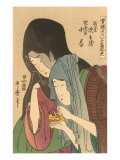 Japanese Woodblock  Two Women with Cricket Cage