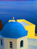 Beautiful Church with Blue Roof  Oia  Santorini  Greece