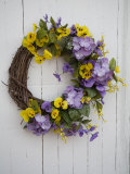 Dried Wreath on White Plank Door  Virginia  USA