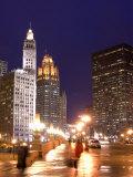 Wacker Drive and Skyline at night  Chicago  Illinois  USA