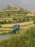 Blue tractor on rural road  San Vicente de la Sonsierra Village  La Rioja  Spain