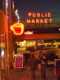 Night lights of Pike Place Market in Seattle  Washington  USA