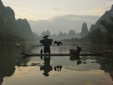 Traditional Chinese Fisherman with Cormorants  Li River  Guilin  China