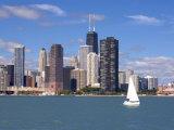 Skyline and Lake Michigan  Chicago  Illinois  USA