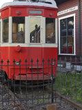 Railroad car at the train depot park in Issaquah  Washington  USA