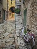 Bicycle and Cobblestone Alleyway  Rovigno  Croatia