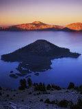 Wizard Island at dusk  Crater Lake National Park  Oregon  USA