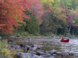 A Man Paddles His Canoe  Seboeis Lake  Millinocket  Maine  USA