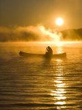 Canoeing at Sunrise  Moosehead Lake  Maine  USA