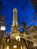 Old Water Tower with holiday lights  Chicago  Illinois  USA