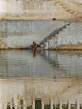 Indian man washing himself  Udaipur  India