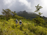 Women Hiking on Trail Mt Pelee  Martinique  French Antilles