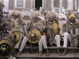Ethiopia's Veterans  in Traditional Costumes  Sit on Cathedral Steps