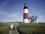 Sailor Walks a Dog Near Sankaty Head Lighthouse