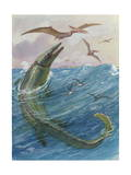 Mosasaurus Species Lived in Kansas, United States Papier Photo par Charles Knight