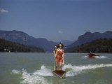 Two Women Water Ski on Lake Lure  Another Speedboat Follows