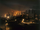 Blast Furnaces of a Steel Mill Light the Night