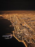Chicago Glows in the Night as Clouds Drift in Off the Lake
