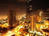 High Rise Construction on Brickell Avenue at Night