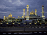 Twilight View of an Illuminated Mosque in Brunei