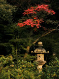 Colorful Trees and Sculpture in a Japanese Garden