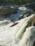 Whitewater Kayaker Drops Off a Waterfall at Great Falls