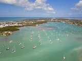 Sailboats Anchored in Orderly Rows in a Florida Key Lagoon