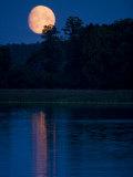 Moon Light Reflecting in Calm Lake Water