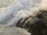 Lava Flowing into the Pacific  Releasing Gases and Creating New Land