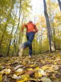 Woman Running Through Woods Near Potomac  Maryland