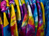 Shirts with Bright Tie-Dye Colors Await Buyers on the Boardwalk