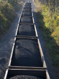 Train Cars Filled with Coal Travel the Rails