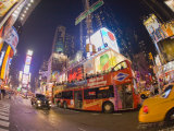 Double Decker Bus on Broadway  in Times Square  at Night