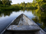 Front of a Dugout Canoe in Calm Water in Peru's Rain Forest