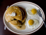 Classic Diner Breakfast of Pancakes and Eggs