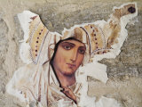 Jerusalem  Israel  Close-up of Torn Picture Mary  Mother of Jesus