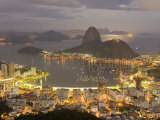 View of Rio De Janeiro at Night from a Nearby Mountain Top