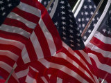 Close View of a Group of American Flags