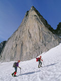 Mountain Climbers Approach Snowpatch Spire in the Bugaboo Mountains