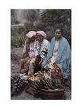 Three Women Traders Sit by their Baskets of Fruits and Vegetables