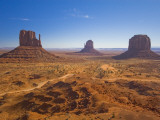 Monument Valley and the Three Mittens Rock Formations on a Clear Day