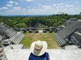 Young Woman Relazing at the Mayan Ruins at Caracol  Belize