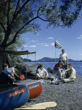 Men Camp Beside Susquehanna River's Source before Canoeing Downriver