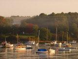 Boats  Fall Foliage  and Fog on the Maine Coast