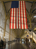 Sun Lighting Up an American Flag at the National Airport